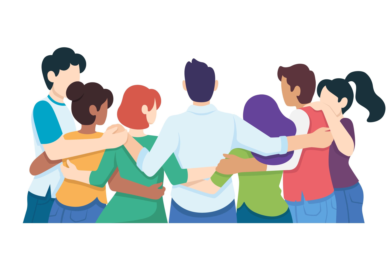 Ilustração de 7 pessoas de costas todas abraçadas uma do lado da outra